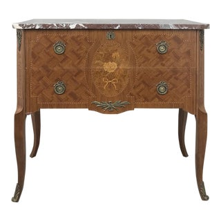 Antique French Louis XVI Marquetry Marble Top Commode For Sale