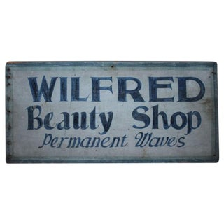 Early Original Blue Painted Beauty Shop Trade Sign For Sale