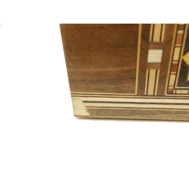Wood Middle Eastern Handmade Engraved Inlaid Mosaic Wooden Box For Sale - Image 7 of 9
