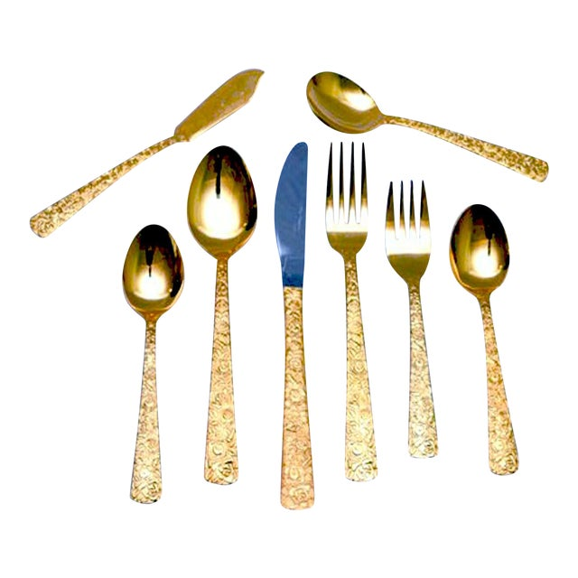 "Golden Renaissance ""Rose"" Stainless Flatware - Set of 50 For Sale"