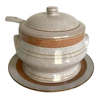 Pottery Craft Tureen With Plate and Spoon - 4 Piece Set For Sale