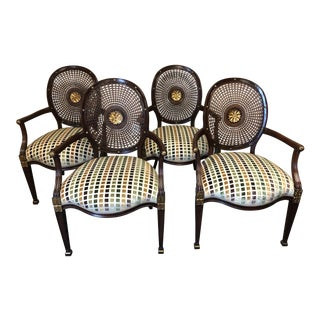 1990s Vintage Oval Caned Back Regency Style Arm or Dining Chairs- Set of 4 For Sale