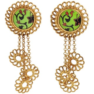 Kenzo Paris Signed Clip on Earrings Drop Dangling Floral Design With Ceramic For Sale