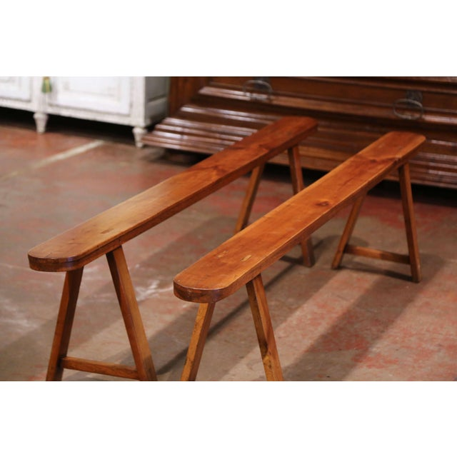 Pair of 19th Century French Provincial Carved Cherry Wood Trestle Benches For Sale In Dallas - Image 6 of 10