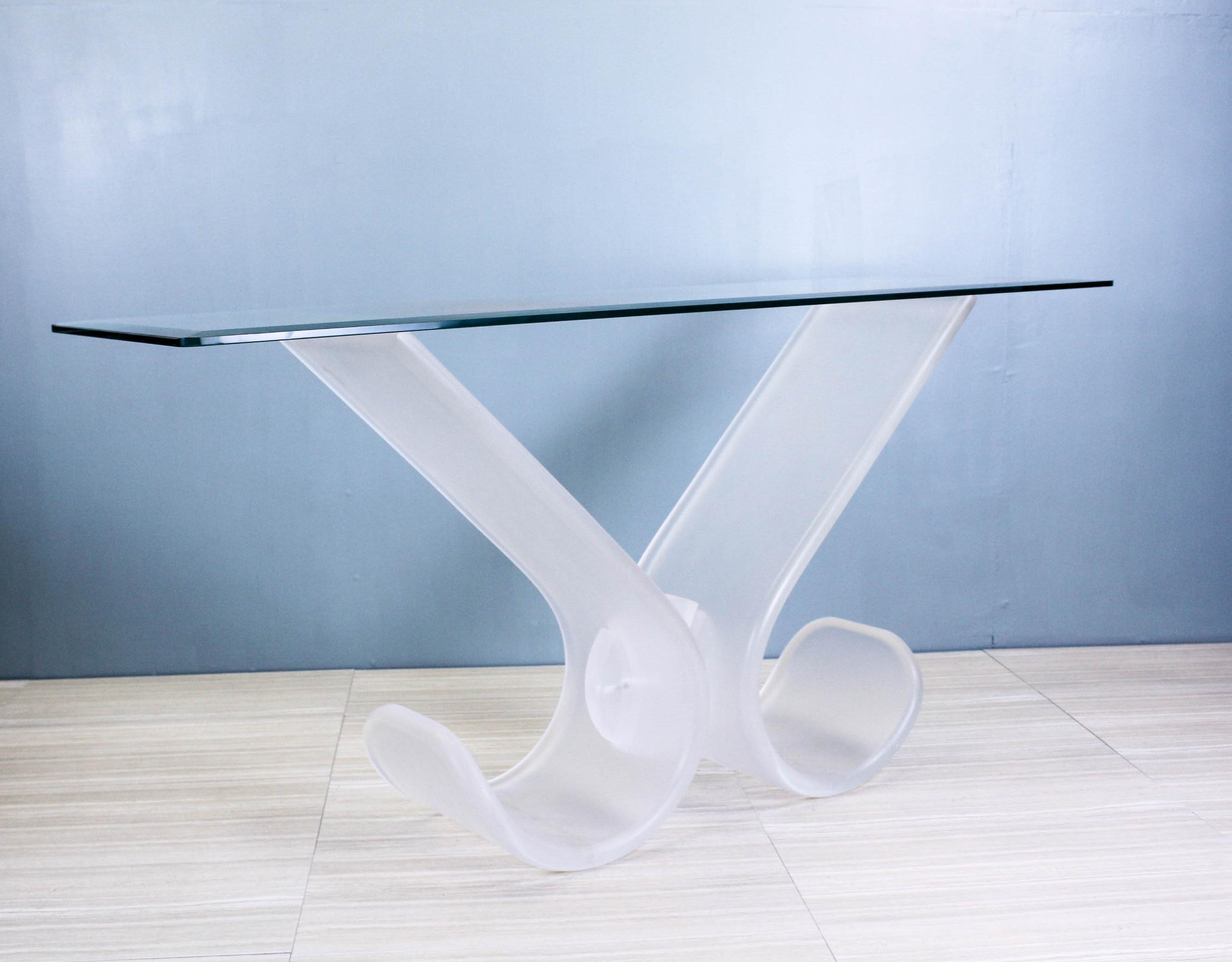 lucite sofa table ghost console midcentury modern lucite console table for sale image 11 of chairish