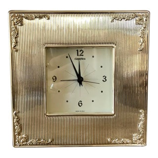 Italian Sterling Silver Clock For Sale