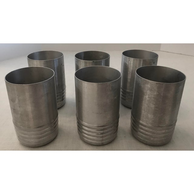 Vintage Aluminum Tumblers - Set of 6 For Sale - Image 5 of 8