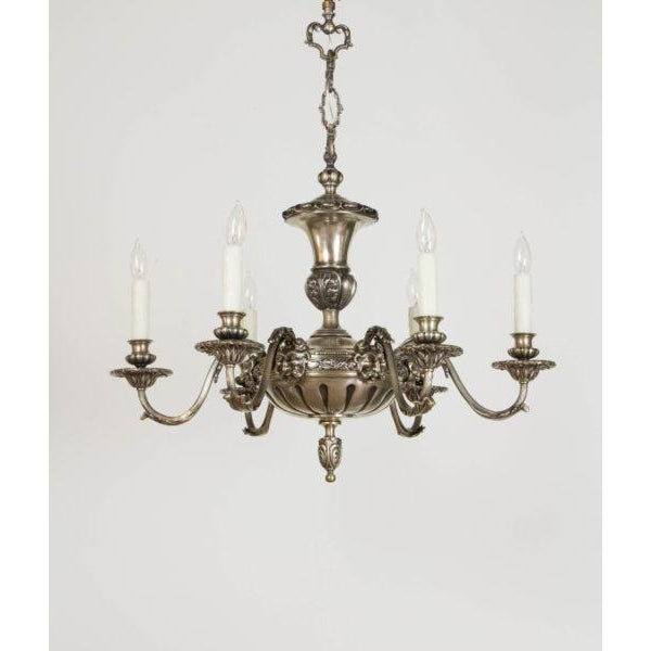 Antique silver satyr 6 arm chandelier image 11 of 11