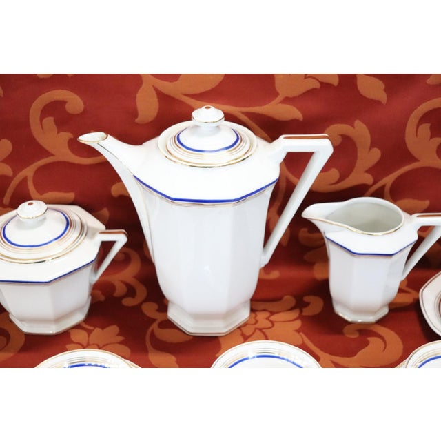 French Hand Painted and Gold Porcelain Tea or Coffee Set by Limoges 15 Pieces For Sale - Image 6 of 13