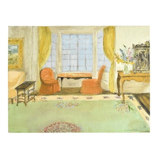 Vintage Signed Interior Design Painting For Sale