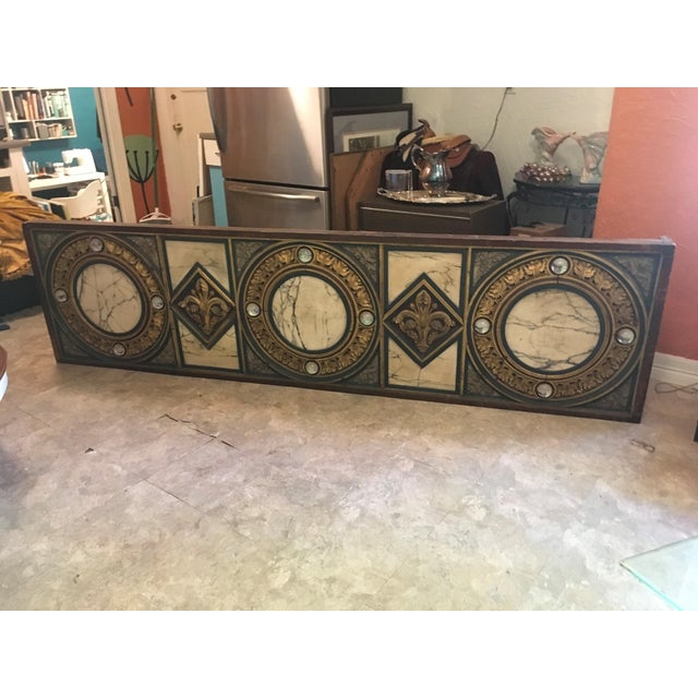 18th Century Antique French Polychrome Wood, Marble, & Glass Panel For Sale - Image 13 of 13