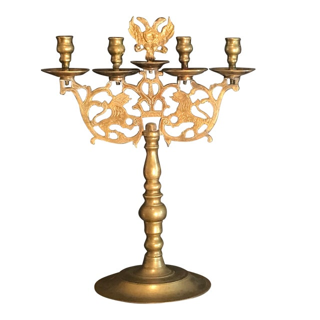 Antique Brass Sabbath Candelabra For Sale