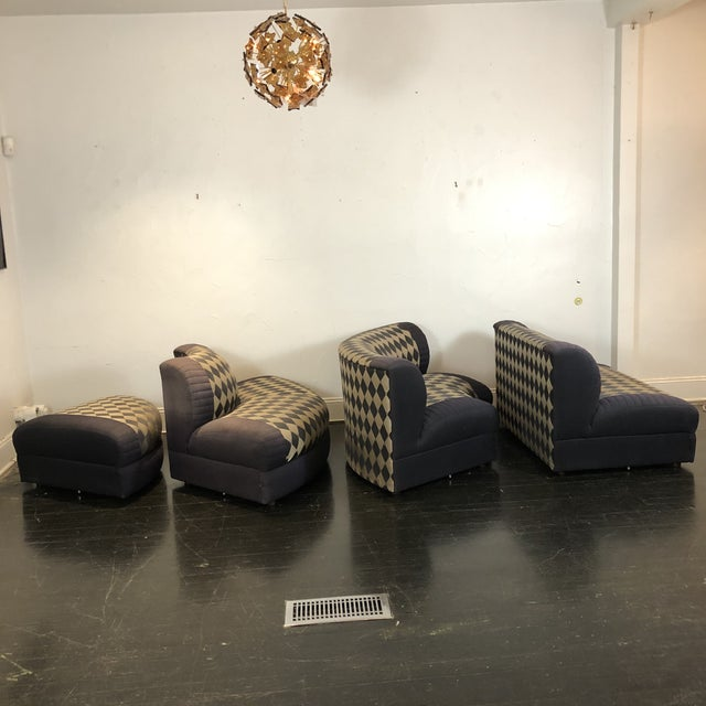 Navy Blue 1980s Vladimir Kagan Curved 5 Piece Sofa for Weiman For Sale - Image 8 of 13