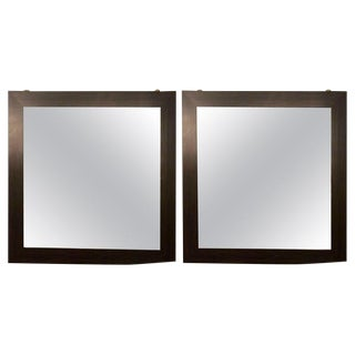 Pair of Art Deco Style Faux Macassar Square Console or Wall Mirrors For Sale
