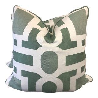 """Green and White Geometric 22"""" Pillows-A Pair For Sale"""