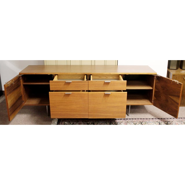 Brown 1950s Mid Century Modern George Nelson Herman Miller Walnut Desk & Credenza - 2 Pieces For Sale - Image 8 of 13