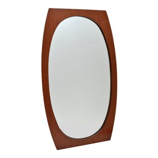 Oval Danish Modern Walnut Wall Mirror For Sale