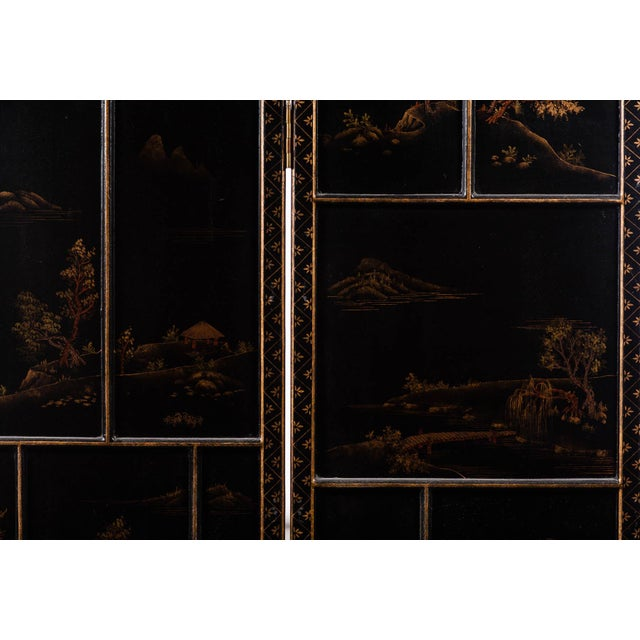 Japanese Large Four-Panel Landscape Scenes With Individual Raised Frames Screen/Room Divider 6 Ft W X 6.5 Ft H by Lawrence & Scott For Sale In Seattle - Image 6 of 12