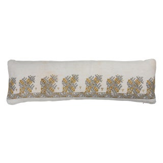 Antique Turkish Ottoman Embroidery Bolster Pillow For Sale