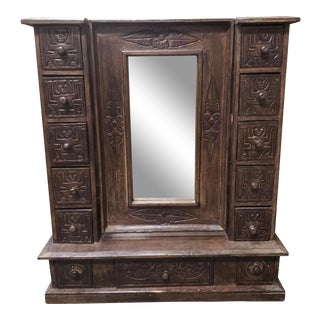 Vintage Circa 1960 Indonesian Carved Wooden Dressing Table Top Mirror/Jewelry Armoire For Sale