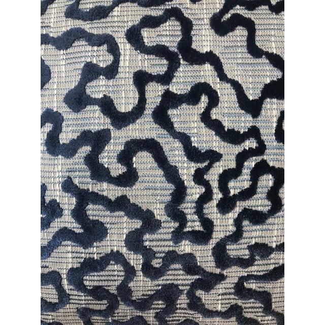 "20"" by 20"" pillow cover in Schumacher Janis Velvet Blue. Knife edge. Fabric on both sides. Zipper. Insert not included."