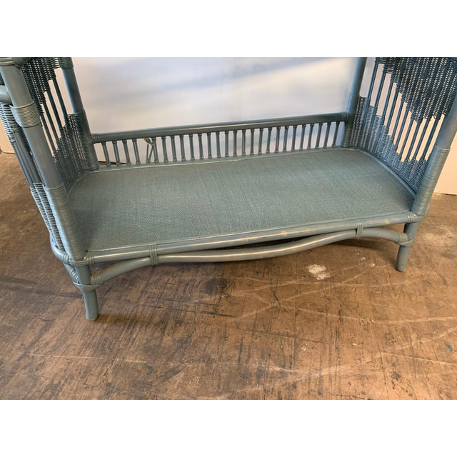 Rattan and Wicker Console Table and Mirror For Sale - Image 4 of 8