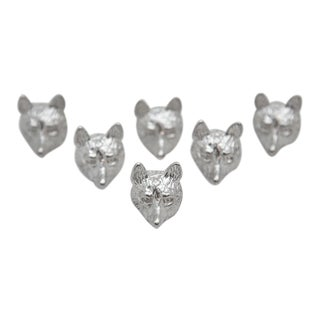 Late 20th Century Sterling Fox Head Place Card Holders - Set of 6 For Sale