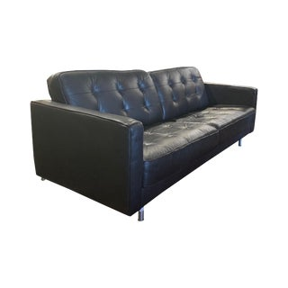 Vintage Black Leather Corbusier Sofa For Sale