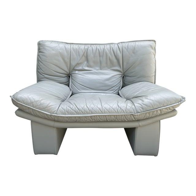 Vintage Grey Italian Leather Chair by Nicoletti Salotti For Sale