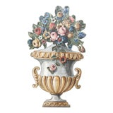 Image of Trompe l'Oeil Italian Urn With Flowers on Wood For Sale