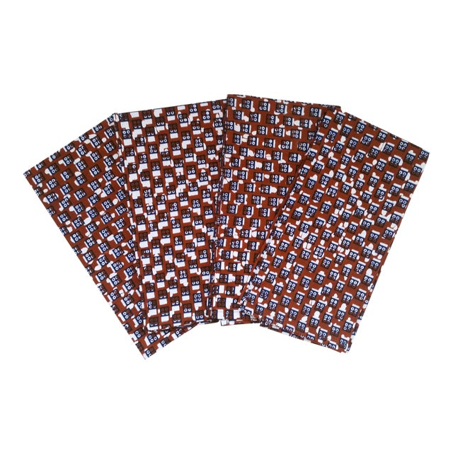 African Wax Print Fabric Napkins - Set of 6 - Image 1 of 4