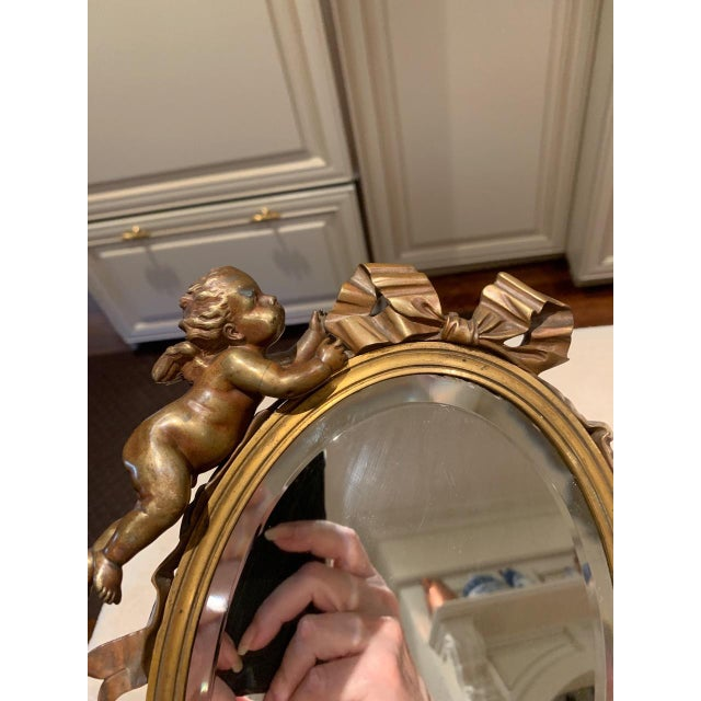 Mid 19th Century Art Nouveau Mirror With Bronze Putti Cherubs For Sale - Image 5 of 9