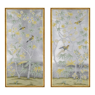 """Jardins en Fleur """"Hampshire"""" Chinoiserie Hand-Painted Silk Diptych by Simon Paul Scott in Italian Gold Frame - a Pair For Sale"""