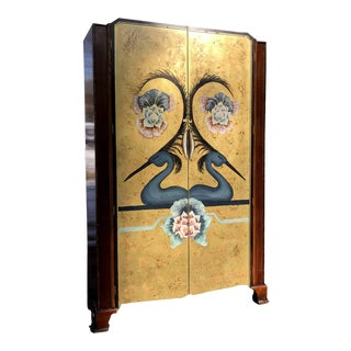 1930's Art Deco Bath Cabinet Makers Armoire With Hand Painted Scene For Sale