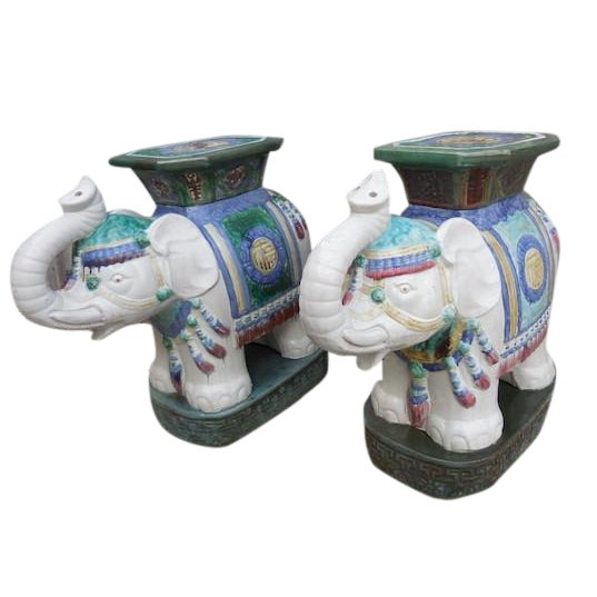 Vintage Elephant Garden Stool - Pair - Image 1 of 7