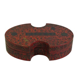 Chinese Distressed Red Lacquer Chinoiserie Oval Shape Treasure Box Preview