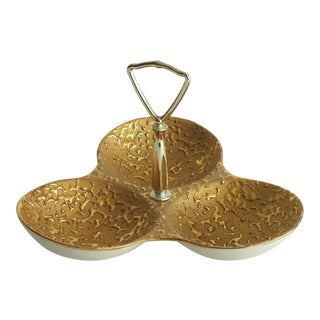 Mid-Century Weeping Gold Divided Candy Dish For Sale