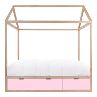 Nico & Yeye Domo Zen Twin Canopy Bed Made of Solid Maple Pink Drawers For Sale