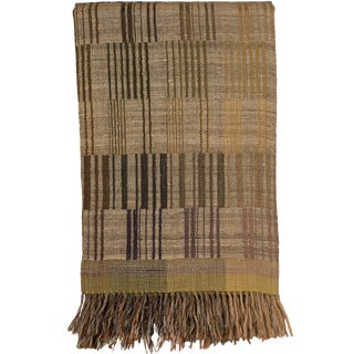Indian Handwoven Throw Piano Keys Olive For Sale
