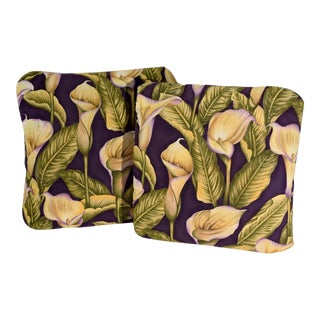 Vintage Calla Lily Pillows in Purple, Green and Yellow - a Pair For Sale