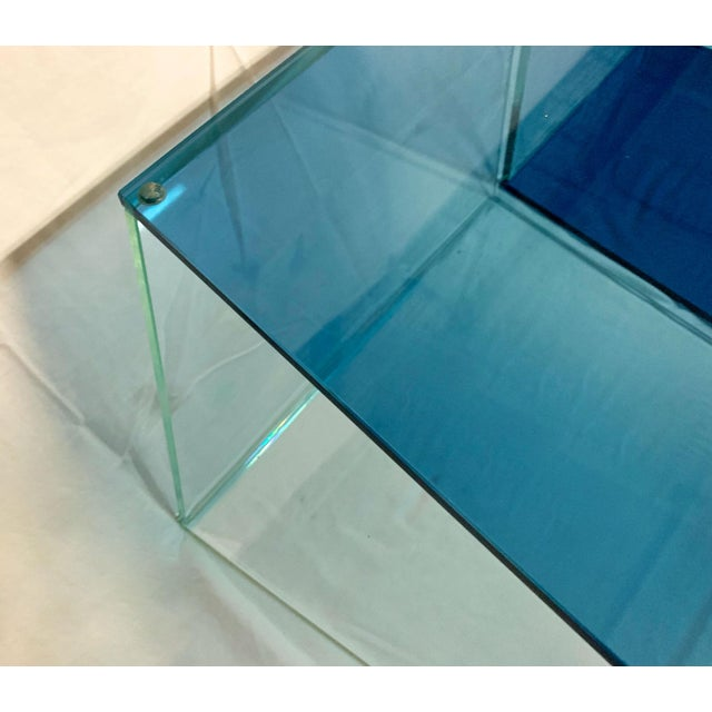 Blue 1970s Contemporary Geometric Blue and Clear Glass 3 Piece Coffee Table For Sale - Image 8 of 12