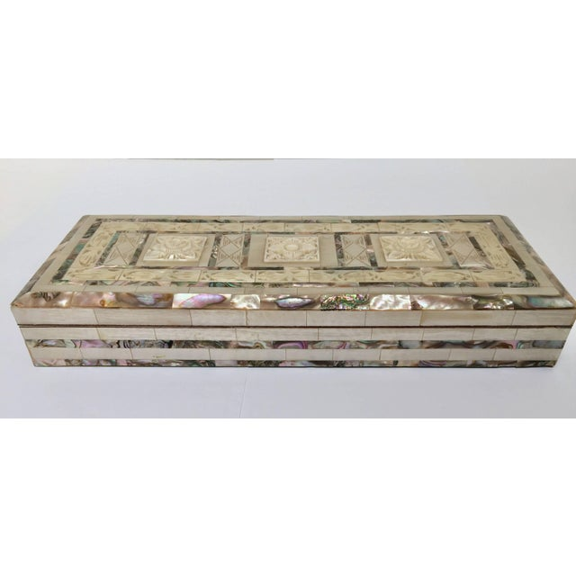Mid 20th Century Middle Eastern Abalone and Mother-Of-Pearl Inlay Large Rectangular Box For Sale - Image 5 of 13