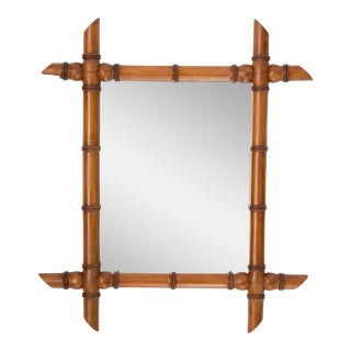 Antique French Faux Bamboo Carved Mirror For Sale