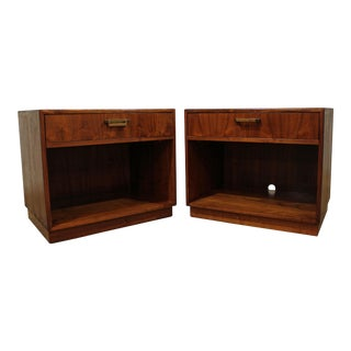 Mid-Century Danish Modern Milo Baughman Founders Walnut Burl Nightstands - a Pair