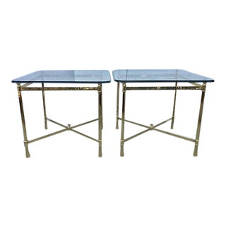 Italian Brass and Glass Side Tables