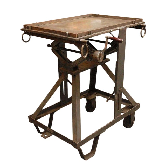 An Iron Adjustable Industrial Scissor Table For Sale