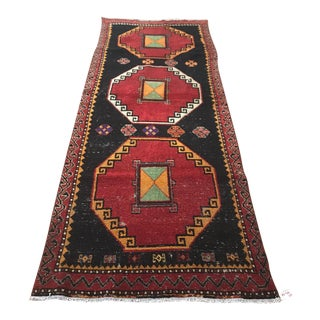 Geometric Design Vintage Turkish Rug For Sale