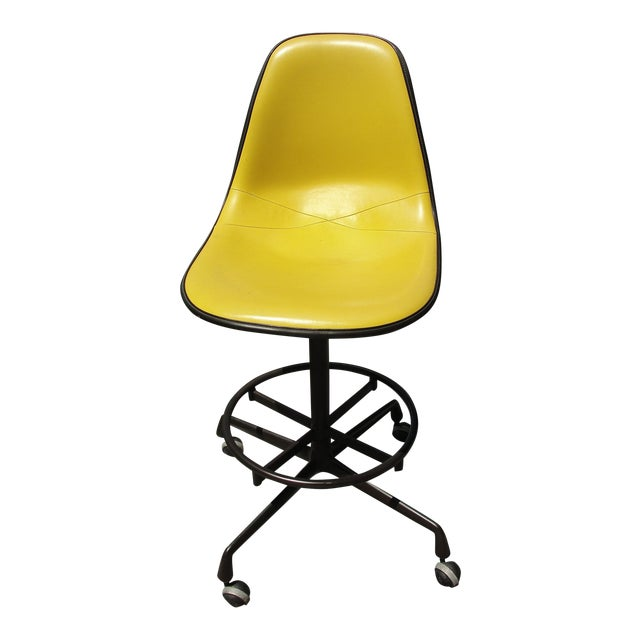 Mid-Century Herman Miller Yellow Bar Stool - Image 1 of 8