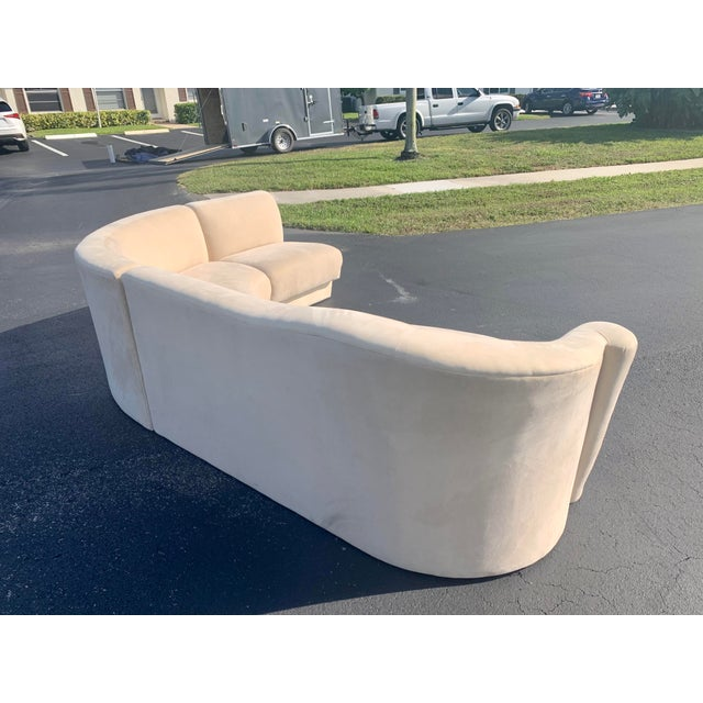 Textile Vladimir Kagan for Weiman 3pc Scroll Back Sectional Sofa For Sale - Image 7 of 13