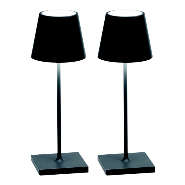 Modern Zafferano Dark Grey Rechargeable Indoor/Outdoor Cordless Mini Table Lamp - Pair For Sale - Image 3 of 3